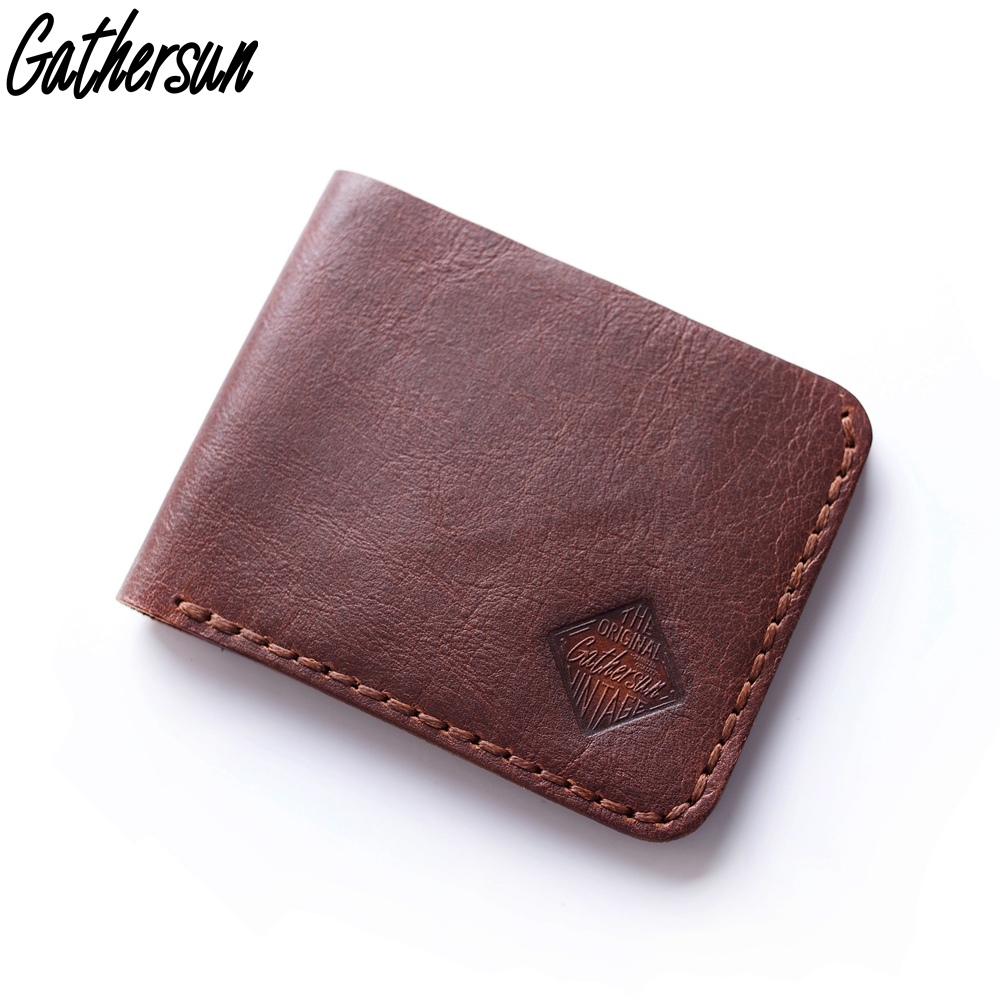 55db1df930e1 Genuine Leather Wallet for Men Handmade Vintage Leather Wallet Men Short bi  fold 4 Card Pockets First Layer Leather Wallet Men-in Wallets from Luggage  ...