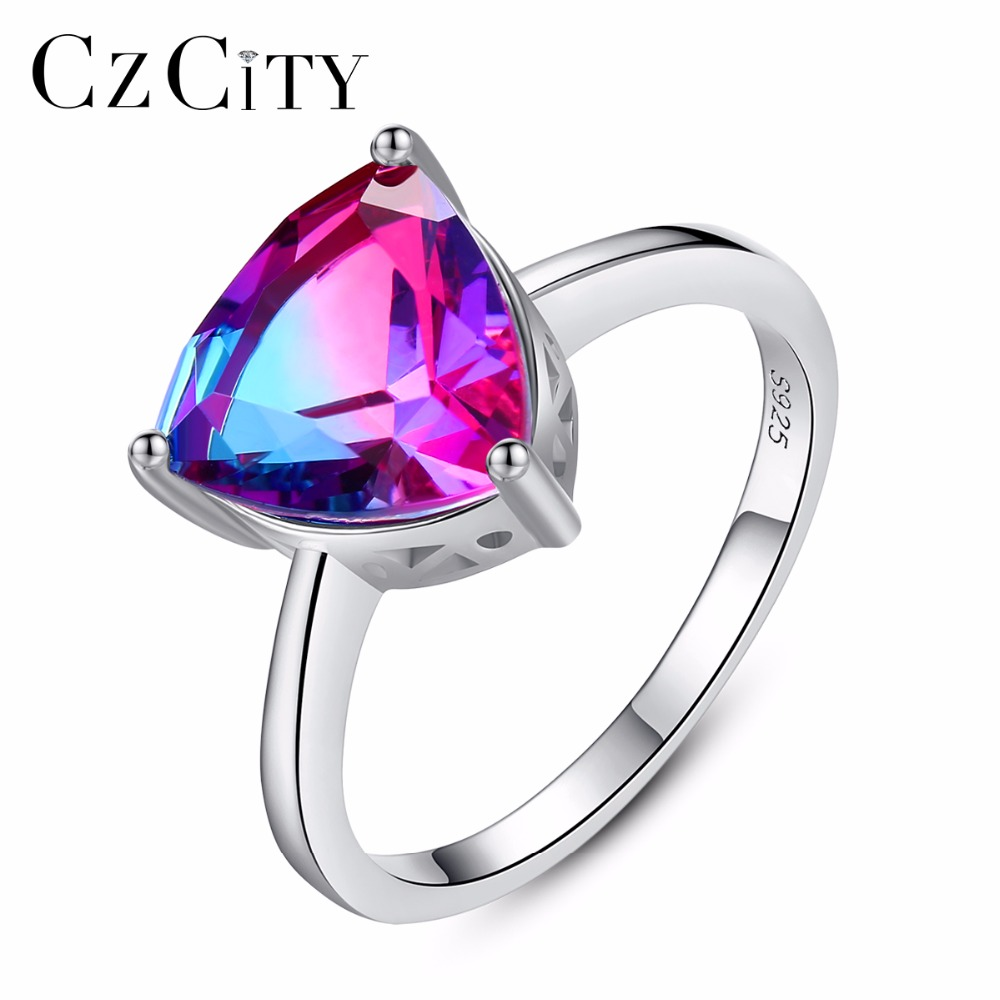 CZCITY Nature Rainbow Fire Mystic Topaz Finger Rings for Women Anniversary Women 925 Sterling Silver Wedding Ring Female 2018