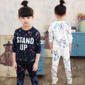 Fashion kids sport suit winter clothing children clothes  girls print set child tracksuit outfits wear teen pants set  TZ12