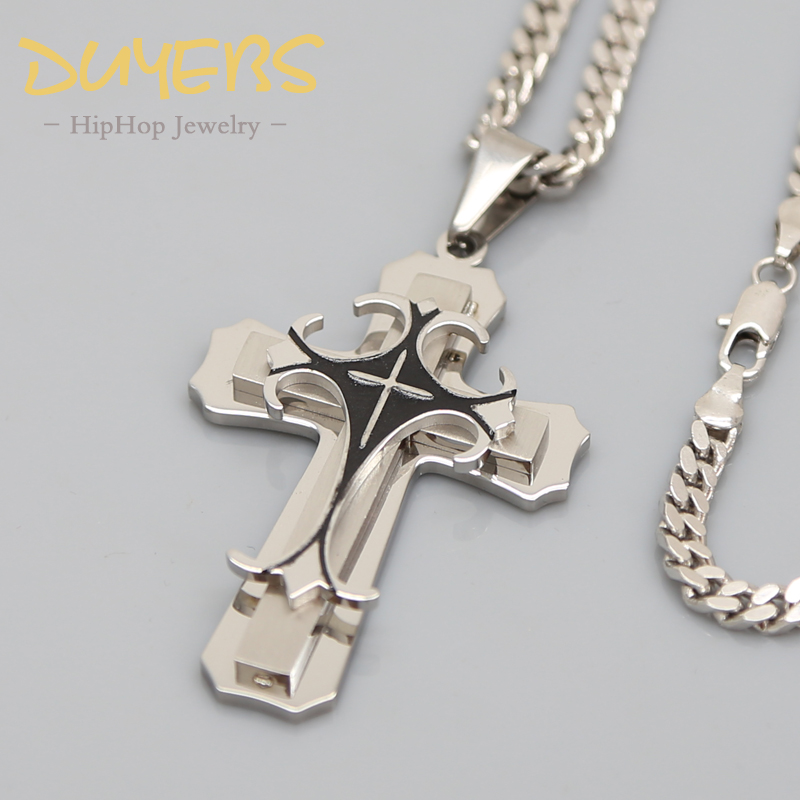 DUYEBS Silver-color three layers <font><b>cross</b></font> necklaces & pendants Hiphop titanium Steel 70cm fashion long cuba chain Men jewelry