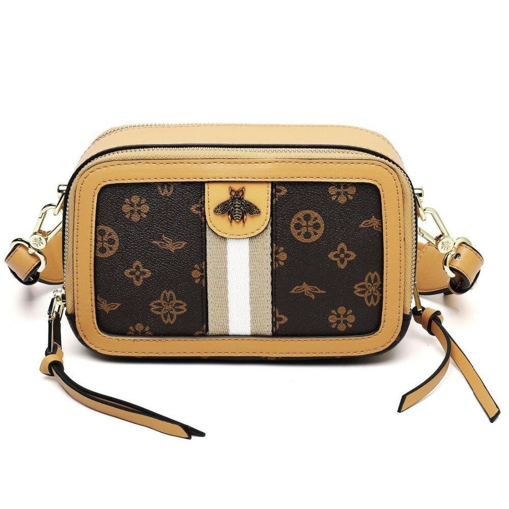 Femmes sacs à bandoulière de luxe PVC Messenger sac grand sac de parfum de mode carré Design collège fermeture à glissière rabat sac abeille femme sac à main