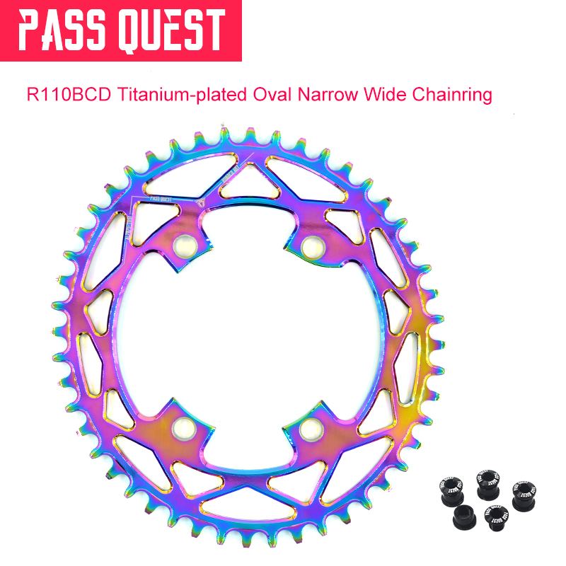 PASS QUEST 110BCD oval road chainring chain wheel titanium plated bicycle chain ring crankset 42t-52t For R7000 R8000 DR9100