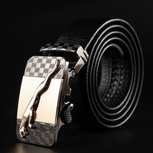 Men's leather belt automatic buckle business belt men's first layer leather soft belt цена и фото