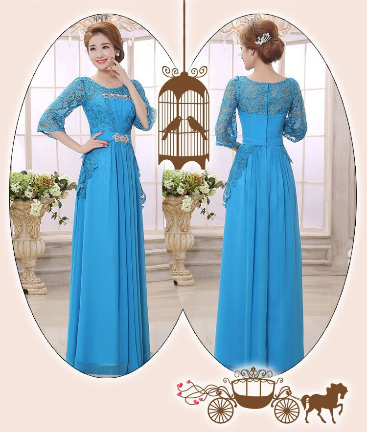 Blue Purple Floor-Length 2017 New Arrival O-neck A-line Lace Full Sleeve Chiffon Long Mother Of The Bride Dresses Plus Size