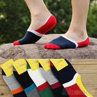10 Pairs Men S Contrast Color Wide Stripe Loafer Boat No Show Low Cut Socks 1K3Q