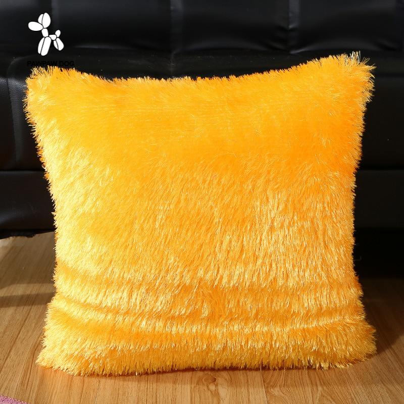 45*45 Cushion Cover Solid Square Pillowcase Plush soft Home Textile Living Room Supplies Pillows Cases Kawaii Travel Chair Pad