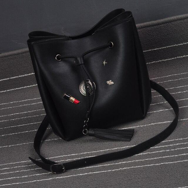Black messenger bag PU leather soft chain bag Bucket bag stars handbag shoulder bag high quality accept wholesale