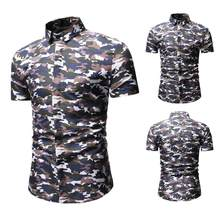 Personality Men's Summer Casual Slim Short Sleeve Printed Shirts Top Blouse #4A25 Polos : Coat : Slim Fit : printed : white(China)
