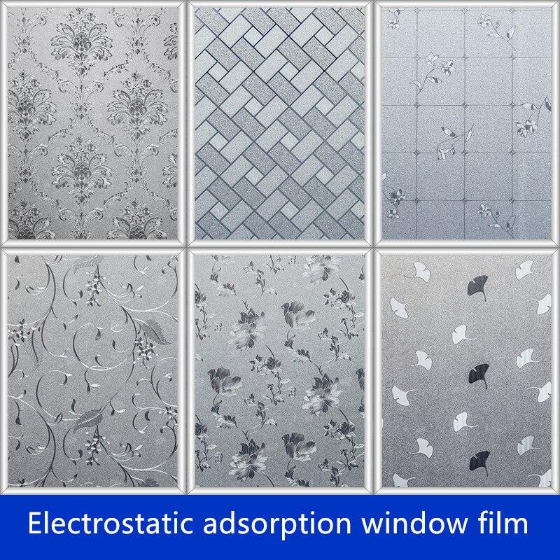 60CMx100cm Ablakfólia matt üvegfólia 3D Statikus ablak papír átlátszatlan fürdőszoba WC konyhai tolóajtó film az ablakon