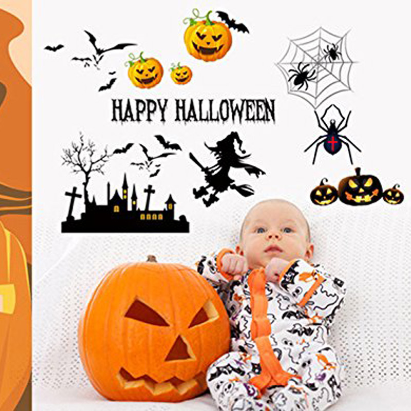 Unique Festival Decals HAPPY HAOWEEN Letters Decal Wall Stickers Halloween Home Room Win ...
