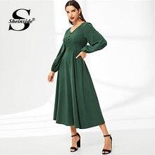 2620fa0cde Sheinside Green Elegant Button Detail Lantern Sleeve Dress Women High Waist  Maxi Dresses 2019 Spring V Neck Solid A Line Dress