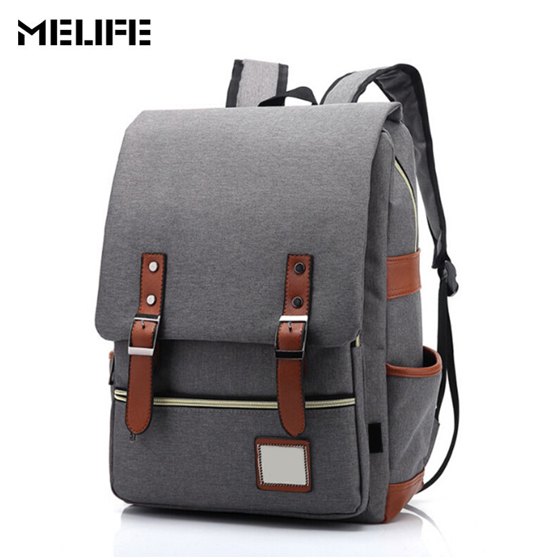 MELIFE Women Canvas Backpacks Men Shoulder School Bag Rucksack Travel Fashion Waterproof Laptop backpack For Girls Boys Student miwind women canvas backpack fashion 4 pieces set printing school backpacks for teenage girls travel shoulder bag rucksack cb249