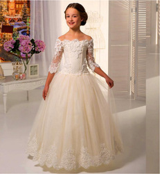 Ivory/White Appliques Princess Flower Girl Dresses For Weddings with Scoop Half Sleeve Ankle Length Girls First Communion Dress