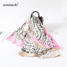 Luxury Brand 100% Silk Scarf Women Owl Print Square Scarves Shawls Large Foulard Femme Twill Silk Spring Scarf Bandana Hijab luxury silk square 100
