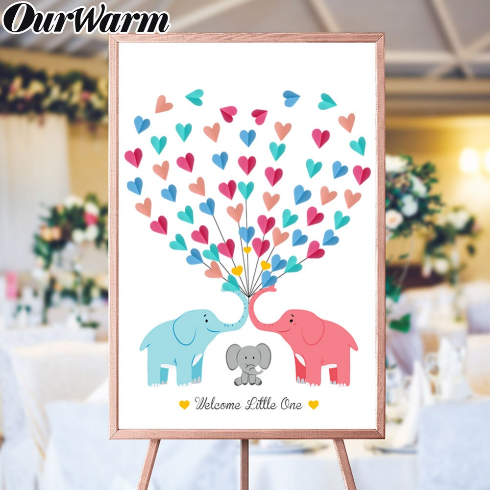 OurWarm DIY Canvas Gender Reveal Guest Book Signature Elephant Heart Paper Sticker Baby Shower Favors Birthday Party Decorations