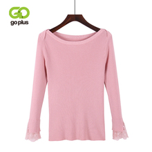 GOPLUS 2019 Fashion Spring Winter Knitted Sweater Women Slash Neck Lace Long Sleeve Pullover Lady Cotton Befree Female