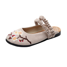 cotton hemp Chinese style embroidered shoes slippers exquisite handmade sandals breathable Half the