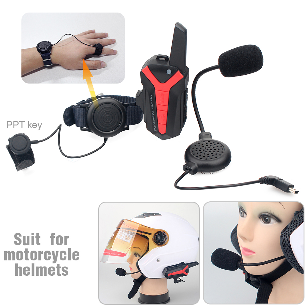 2 Pcs X3 PLUS Up To 3km Waterproof Group Talking Motorcycle Helmet Bluetooth Intercom Headset With PTT Control