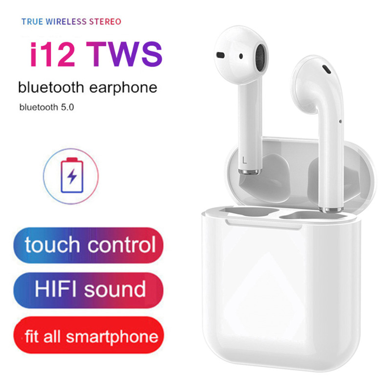 i12 TWS Earphones Earbud Wireless HIFI In Ear Bluetooth Earphones Touch Control With Android/IOS Device Earbuds Gaming Headset