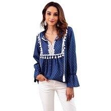 hot deal buy polka dot v neck women shirt boho loose blouse tassel indie folk top lace up patchwork female clothing 2018 autumn blouse tops