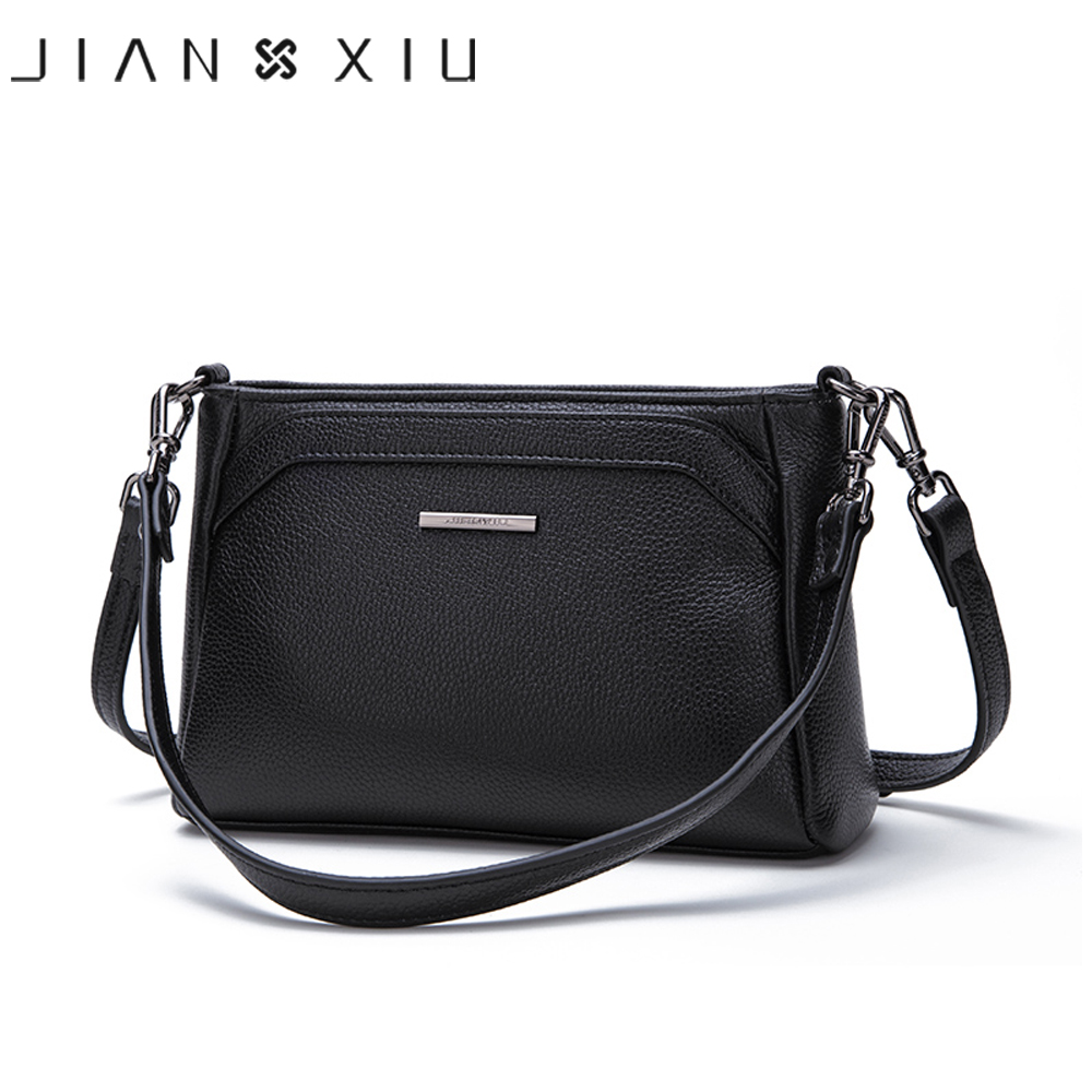 JIANXIU Brand Women Messenger Bags Female Shoulder Crossbody Genuine Leather Handbag 2019 Litchi Texture Small Tote Bag 2 Colors-in Shoulder Bags from Luggage & Bags    1