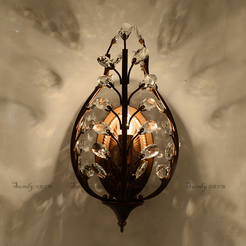 Europe Type Retro Wrought Iron Wall Lamp K9 Crystal Branch Restaurant Bar Rural Style Bedroom Wall Lamp europe retro wrought iron wall lamp k9 crystal branch restaurant rural bedroom wall lamp cafe bar coffee shop hall store club