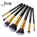 Jessup 7pcs set Pro MakeUp Cosmetic Set Eyeshadow Foundation wood Brush blusher Makeuo brushesTools Black/Gold