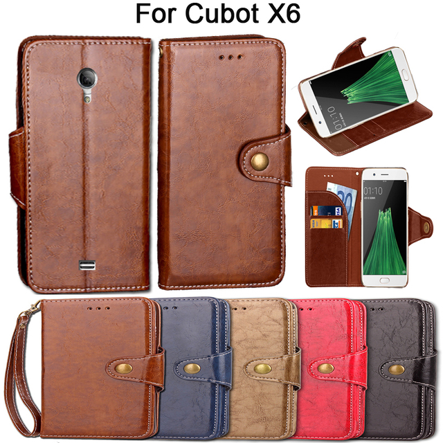 Vintage Flip Case For Cubot X6 Case Cover Luxury Kickstand PU Leather Card Slot Wallet Fundas Coque Cover With Lanyard