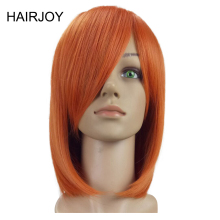 цена на HAIRJOY  Woman Side Bang Medium Straight Natrural Synthetic Hair Wig 3 Colors