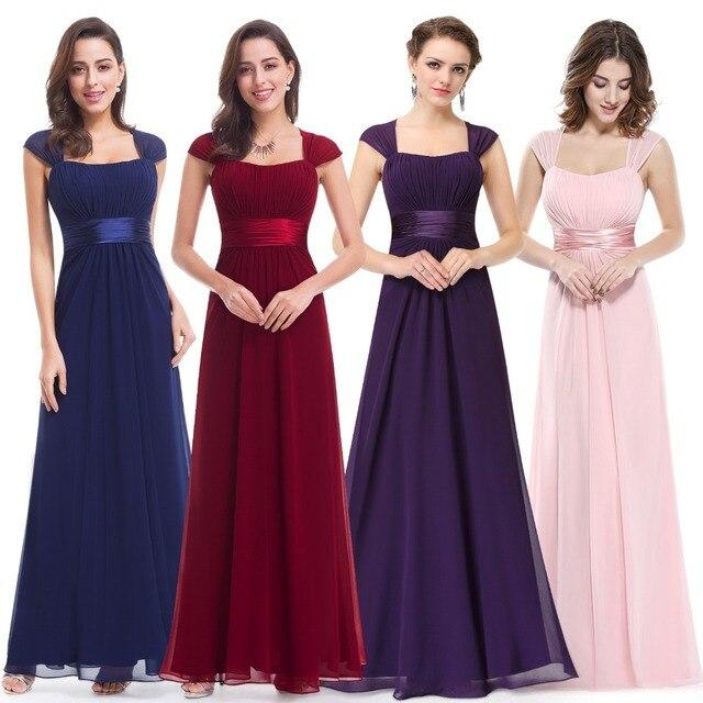 832a669bd2 US $28.04 49% OFF|Aliexpress.com : Buy Pink Bridesmaid Dresses 2019 Ever  Pretty 08834 Long Chiffon 4 Color Cheap Wedding Party Dresses Bridesmaid ...