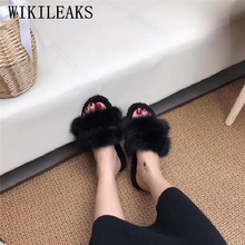 fur slippers home women shoes woman plush slides pantufa pantoffels dames winter 2019