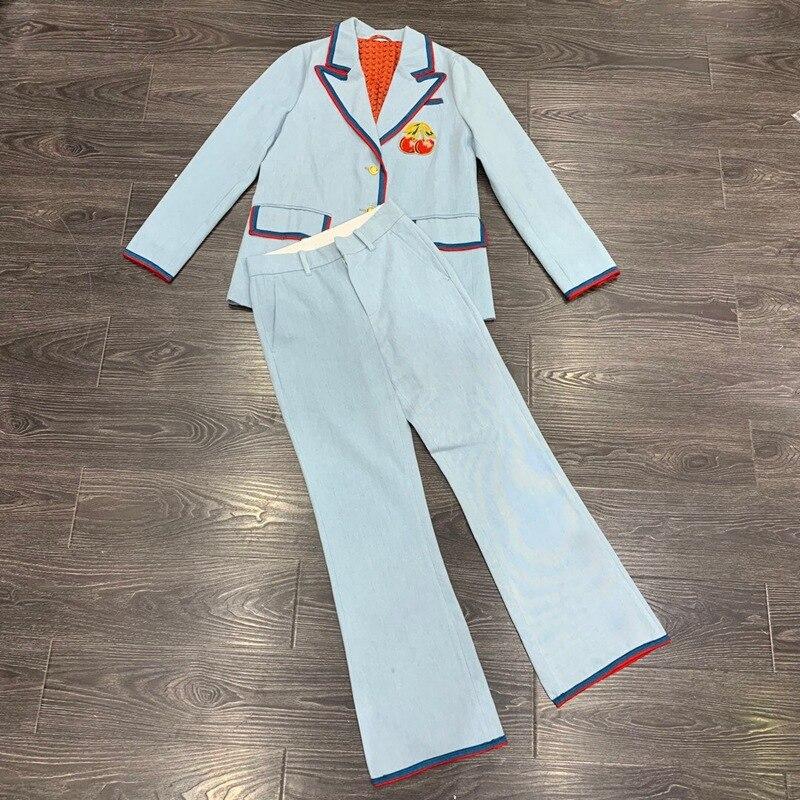 2019 fall OL women high quality denim pants set cherry embroidery single breasted silk lining blazer + pant clothing set y348