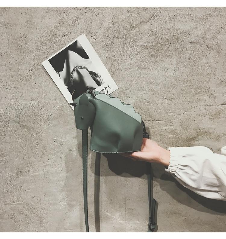 Cartoon Unicorn Dinosaur Design Pu Leather Tote Crossbody Handbag