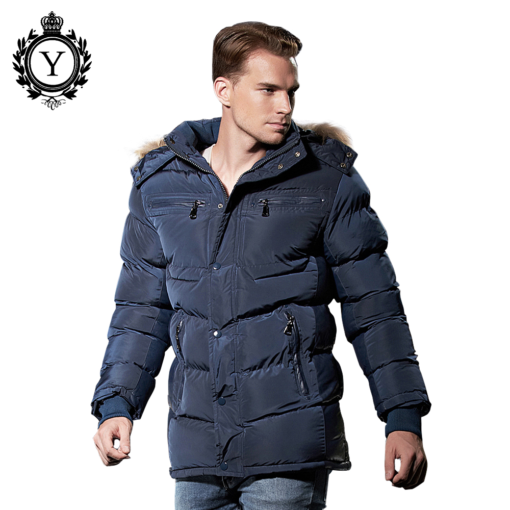 ФОТО COUTUDI Stylish Winter Jacket Mens 2016 Hot Sale Popular Dark Blue Polyester Thick Long Style Bomber Jacket Fur Hoody Parka Coat