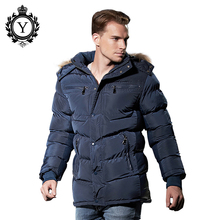 COUTUDI Stylish Winter Jacket Mens 2016 Hot Sale Popular Dark Blue Polyester Thick Long Style Bomber Jacket Fur Hoody Down Coat