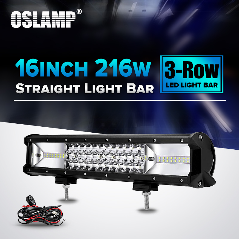 Oslamp 216W 16 Spot+Flood Combo Beam LED Light Bar 12V 24V 6000K Led Work Light for Auto SUV ATV Truck PickUp Led Driving Light eyourlife 23 25 inch 120w fog lamp spot wide flood beam combo work driving led light bar for offroad suv atv 12v 24v 99