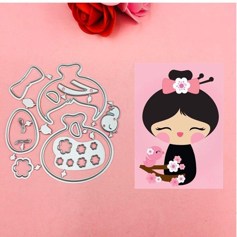 Lovely Flower girl Bow Ear cut dies love heart toy doll ...
