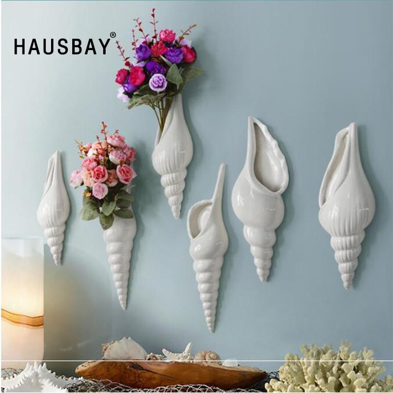 Ceramic Wall Flower Decor: 3 Dimensional Mural Wall Hanging Flower Vase Creative