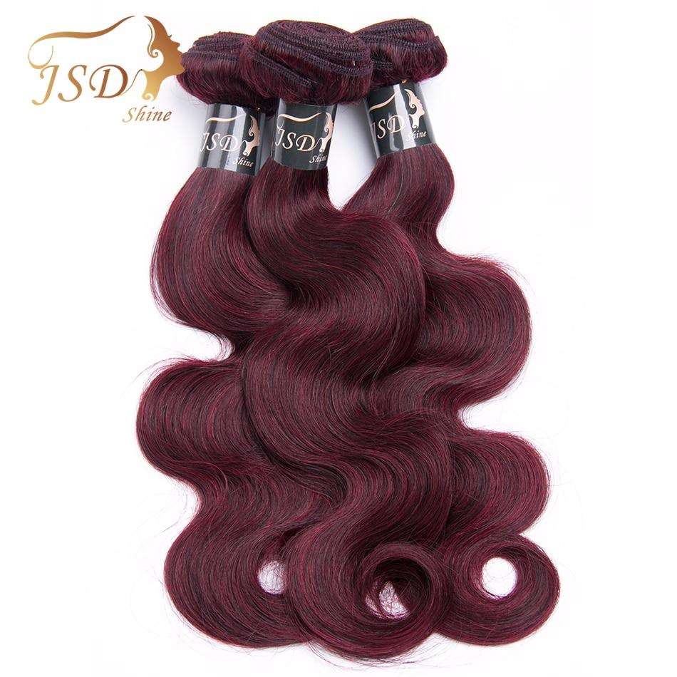JSDshine Hair Pre-colored Mongolian Hair Weave 3 Bundles Body wave Human Hair Bundles 99J Red Color Hair Extensions Non Remy