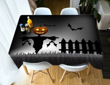 Halloween Party Home Kitchen Tablecloth Creative Horror 3D Print Waterproof Oilproof Thicken Rectangular Round Table Cloth недорого