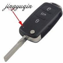 Jingyuqin 30 шт./лот Оболочки для VW Tiguan Гольф Sagitar Мужские поло MK6 Touareg 3 кнопки дистанционного перевернуть складной FOB чехол (202ad)
