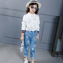 Children Printed Jeans Girls Pants Brand Fashion Spring Big Kids Denim Trousers Children Clothing Casual Printed Blue Jeans 073