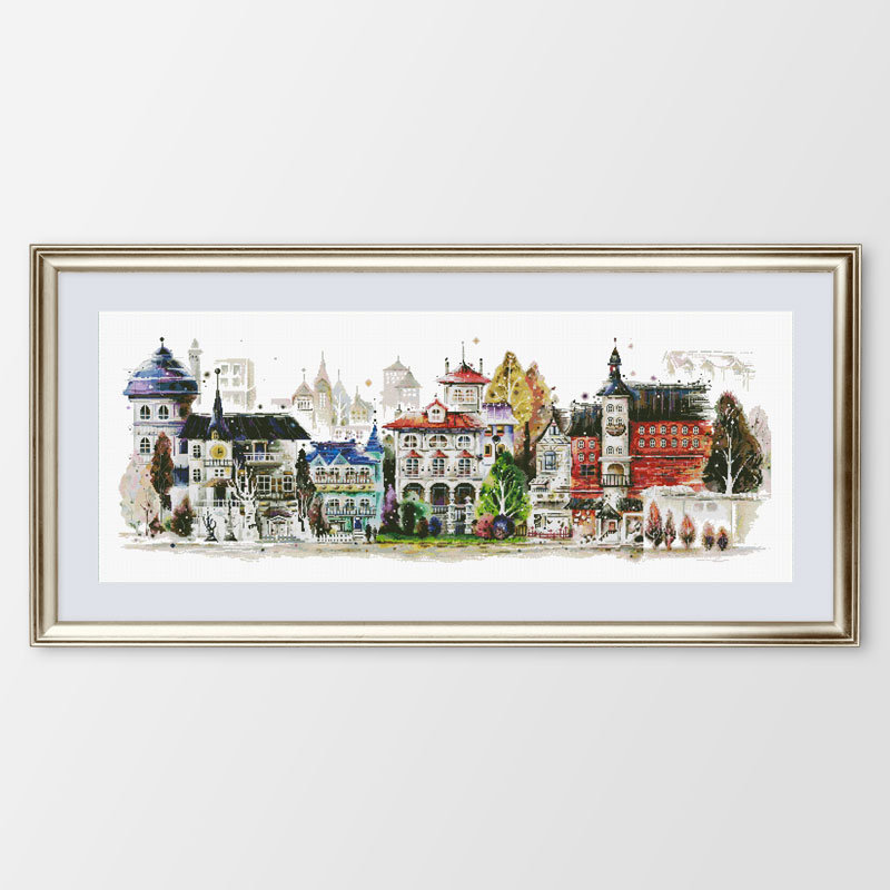 Fishxx Cross Stitch C573 Architectural Landscape European Castle Horizontal Version Living Room Hand Embroidery Painting