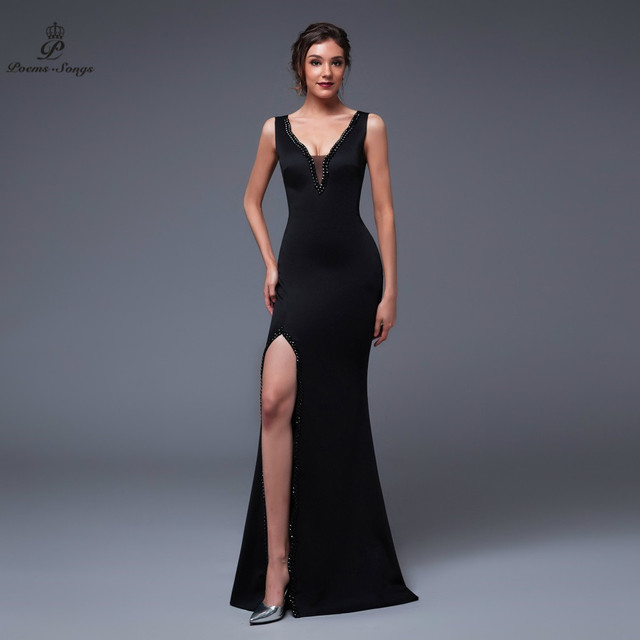 Poems Songs 2019 New Year Doube-V SEXY Evening Prom Slit Side Open Mermaid  Party dress vestido de festa Vintage robe longue 4