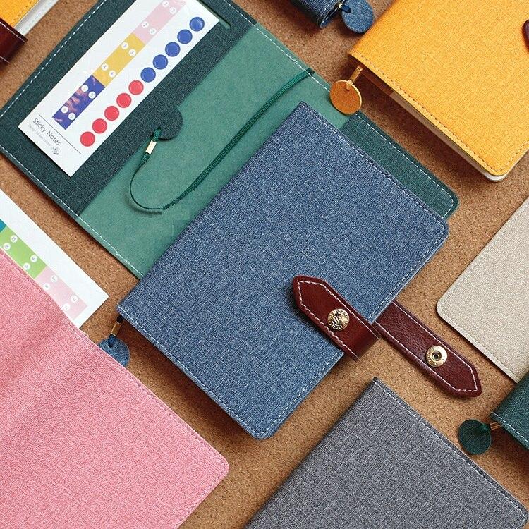 Harphia Light Cover Notebook PU leather belt button planner travel Journal Kawaii Cute Filofax Agenda Organizer A5 A6 limited