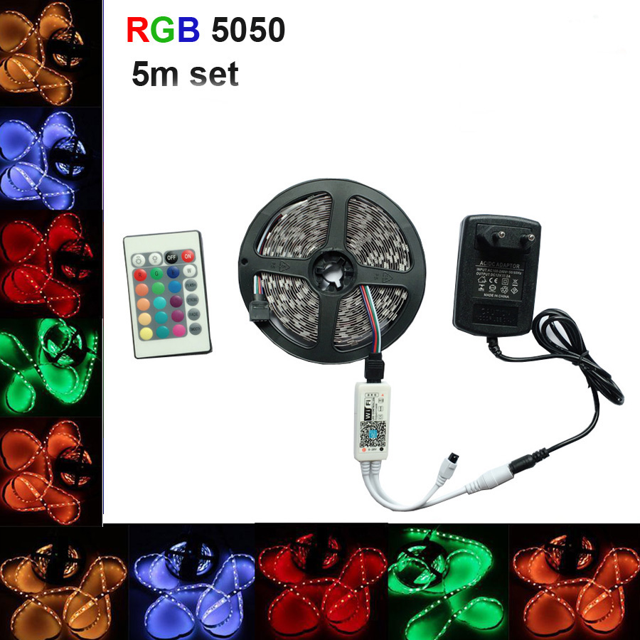 LED Strip SMD 5050 RGB LED Light Lamp 220V 5M 10m 15m 60led/m diode Flexible Leds tape diode wifi controller DC 12V adapter set