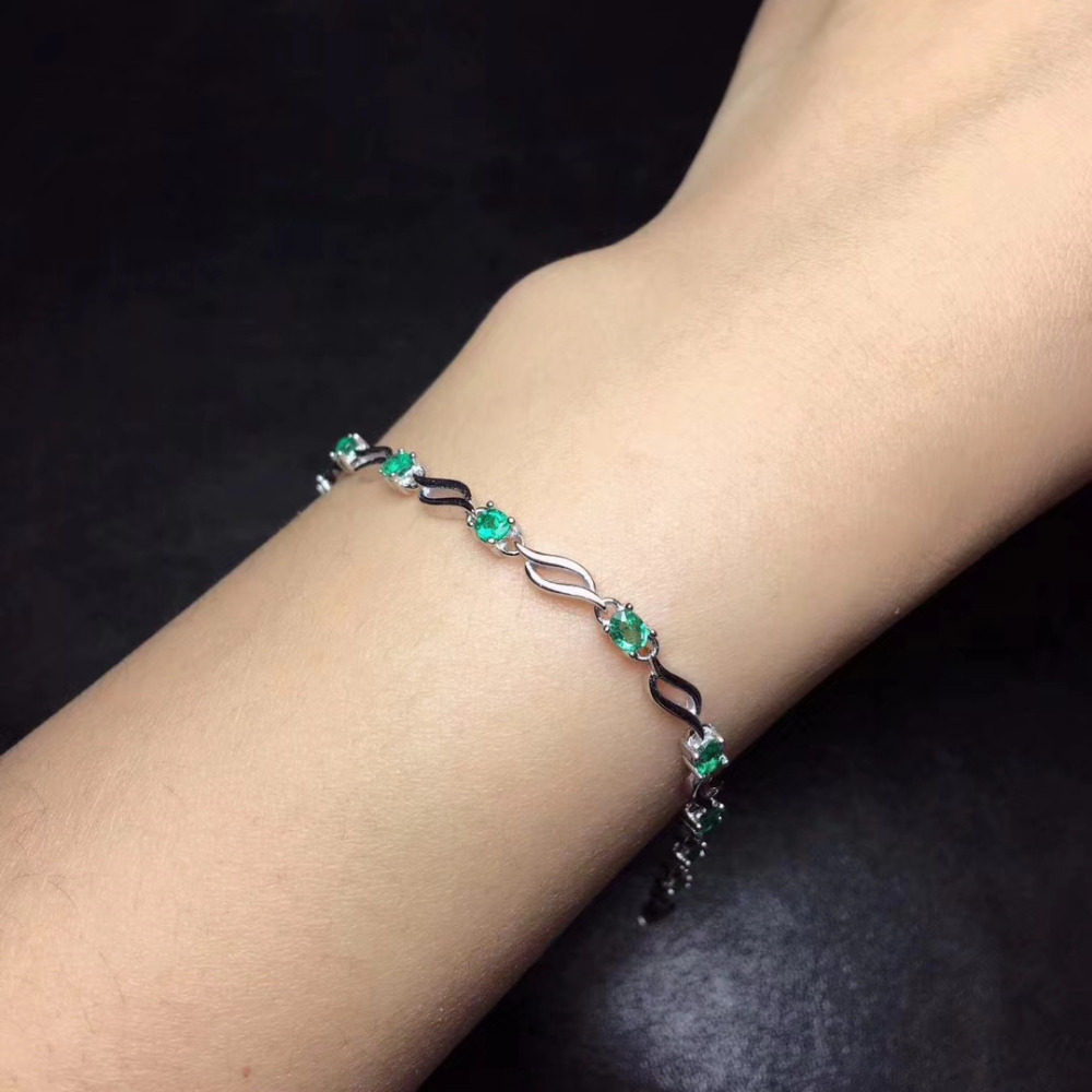 natural green emerald Bracelet Natural gemstone bracelet 925 sterling silver Romantic Elegant willow leaf women party jewelry все цены
