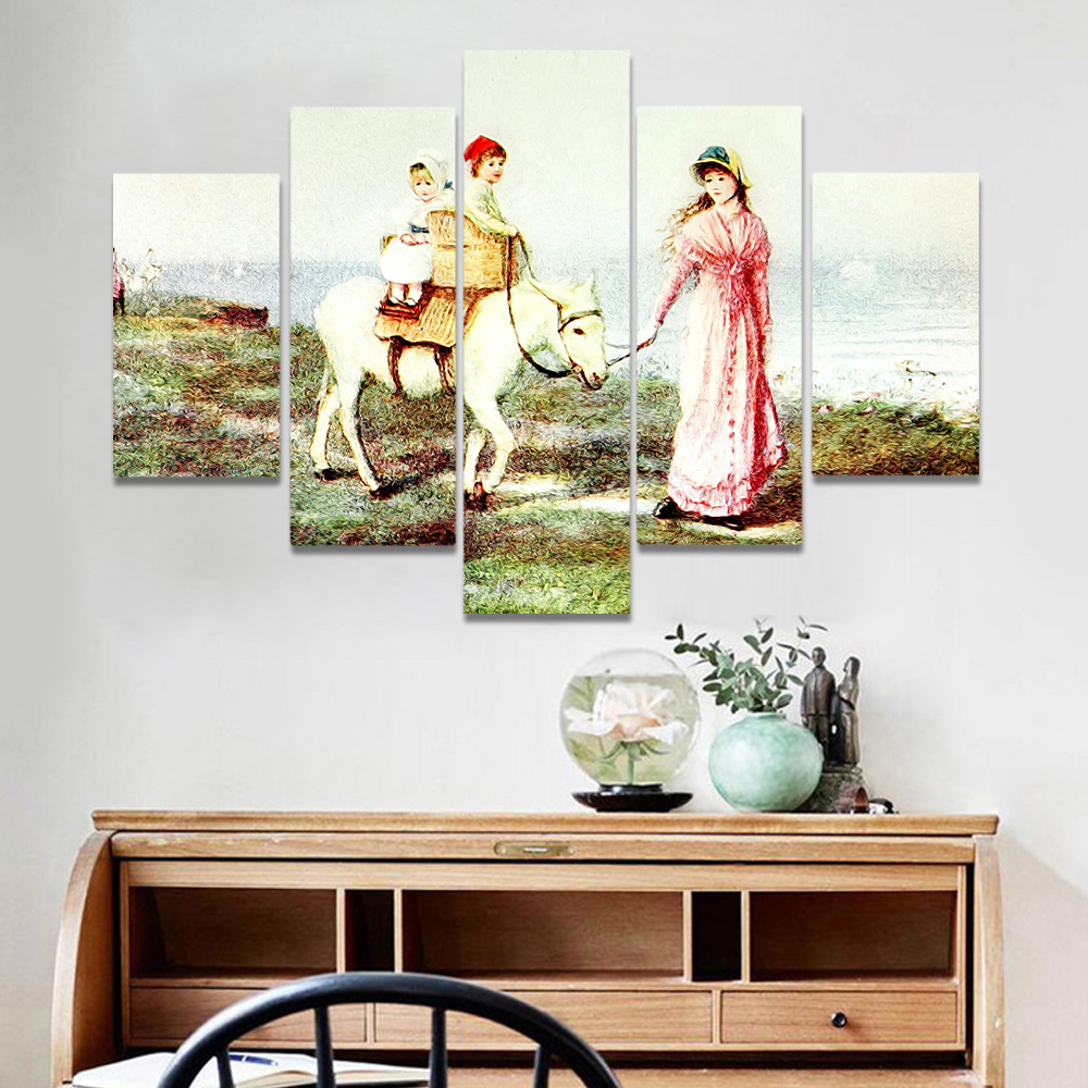 Unframed Canvas Oil Painting Women In The Hands Of Horses White Picture Prints Wall Picture For Living Room Wall Art Decoration
