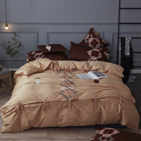 Plaid embroidery Bedding Set Super Soft Cotton Duvet Cover Flat Sheet Pillowcase Comforter Bed Set Queen King Size
