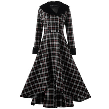 Winter Plus Size Double Breasted Checked Plaid Swing Women Coat Large Size Oversize Jackets XL-5XL